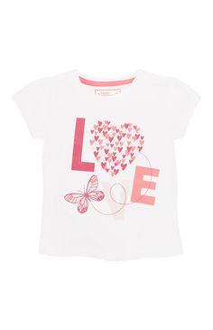 Primark - Wit T-shirt love met vlinder