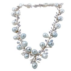 Diamond South Sea Baroque Pearl Gold Sapphire Necklace This stunning necklace is a one-of-a-kind work of art. The light blue-grey baroque South Sea pearls are so, so gorgeous. They play together so well with the light blue sapphires and white diamonds. High Jewelry, Pearl Jewelry, Jewelry Necklaces, Gold Jewelry, Pearl Necklaces, Diamond Necklaces, Light Blue Sapphire, Sapphire Necklace, Blue Necklace