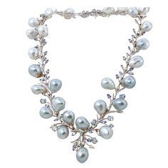Diamond South Sea Baroque Pearl Gold Sapphire Necklace.