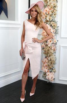 Jennifer Hawkins race day outfit in soft shell pink | STYLIST JULIA ELI