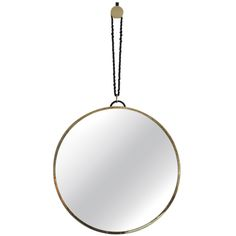 For Sale on - Stunning large mirror encased in polished brass frame designed by Orange. Braided black leather attached to mirror which hangs on a coordinating round Orange Furniture, Home Hardware, Polished Brass, Wall Mirrors, Mirror Mirror, Black Leather, Ceiling Lights, Antiques, Pendant
