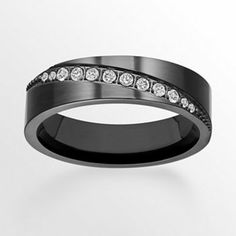 Black Ion-Plated Titanium Cubic Zirconia Diagonal Stripe Wedding Band - Men