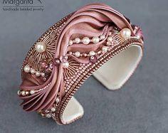 "Bracelet with shibori ribbon ""Mocha rose"", bead embroidery bracelet, bead embroidered bracelet, beaded bracelet, shibori jewelry, shibori"