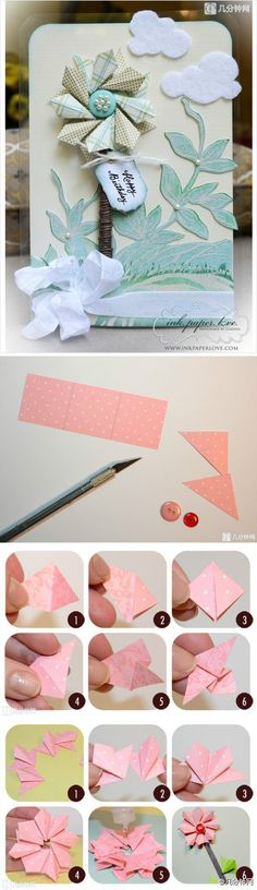 Lovely origami flower to decorate a card.