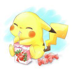 Pokemon fan art featuring a cute little pikachu enjoying a sip of strawberry milk! I love the painterly style of this art piece! Pikachu is so adorabl! Cute Pokemon Wallpaper, Cute Disney Wallpaper, Cute Cartoon Wallpapers, Wallpaper Iphone Cute, Pikachu Drawing, Pikachu Art, Cute Pikachu, Pikachu Chibi, Pikachu Memes