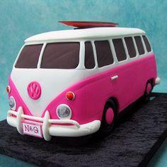3d Cakes, Fondant Cakes, Cupcake Cakes, Mini Tortillas, Pretty Cakes, Cute Cakes, Camper Van Cake, Vw Camper, Hippie Cake