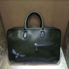 TERSE embroid bee men briefcase handmade genuine leather tote bag Leather  Laptop Bag 3e72b27b70076