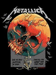 Metallica Art, Metallica Albums, Look Wallpaper, Iphone Wallpaper Rock, Retro Kunst, Rock Band Posters, Vintage Music Posters, Heavy Metal Art, Band Wallpapers