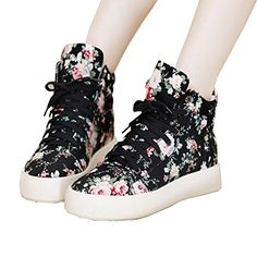 Top Shop Womens Lotop Gym Canvas Floral Lace Up Trainers Flat Slipon Casual Black SneakersUS 7 ** You can find out more details at the affiliate link of the image.