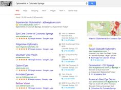 "Infront Webworks SEO client Bettner Vision ranking first page of Google under term ""Optometrist Colorado Springs""."