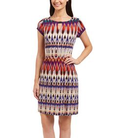 Loving this Rust & Taupe Abstract Ikat Keyhole Sheath Dress on #zulily! #zulilyfinds