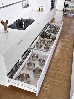 50 Creative Storage Drawer Cabinets For Modern Kitchen Furniture That Will Amaze You - Decor Units Modern Kitchen Furniture, Home Decor Kitchen, Diy Kitchen, Kitchen Modern, Kitchen Lighting Design, Kitchen Lighting Fixtures, Kitchen Drawers, Kitchen Storage, Pot Storage