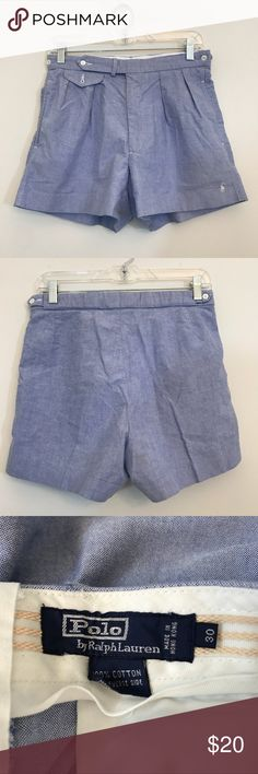 Polo Ralph Lauren Chambray Shorts Preppy High Rise Polo Ralph Lauren chambray high rise shorts. Size 30. Waist is 14.5 across, rise is 11 and inseam is 4. They run small so please refer to measurements. Great condition. Open to offers and 30% off bundles! *R6 Polo by Ralph Lauren Shorts