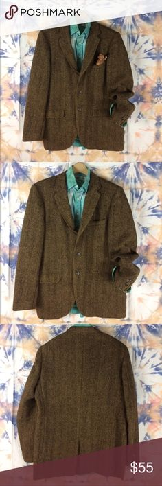Vtg Harris Tweed Scottish Wool Sport Jacket Perfectly Broken-in Harris Tweed sport Jacket. Rich, rusty brown and black Scottish Wool. 3-button front with plenty of pocket action- 2 flap covered pockets and a breast pocket for squirrels or squares 😉 Plus An inside pocket! showing signs of wear— just enough but not too much. Great vibes in this one! Not sure what size this is as i list it but i'll edit asap. Styled with the tie-dyed Balmain shirt listed separately. Harris Tweed Suits…