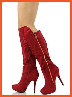 Wild Diva Women's Sonny237 Faux Suede Platform Knee High Stiletto Boot, Wine, 7 M US - Boots for women (*Amazon Partner-Link)