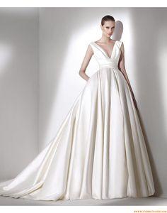 2015 Ausgefallene Besondere Tolle Brautkleider aus Taft mit Schleppe