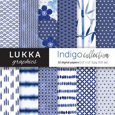 Indigo Blue Digital paper pack Japanese inspired digital