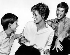 Princess Diana with Princes William and Harry.