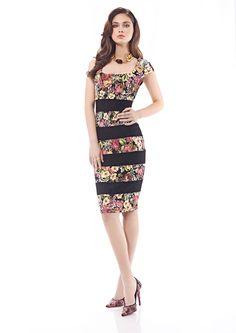 Inter Zeila 9450 | GN Design Group INTER ZEILA 9450  Vestido corto, en tejido jersey, con detalles de estampado floral