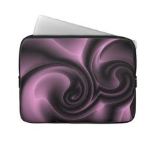 Unique, trendy and pretty laptop protection sleeve. Beautiful embossed looking image of light and dark violet purple gray modern abstract deco swirling design. For the fashionista and fashion diva, the hip trend setter, vintage retro motif, psychedelic modernism or digital nouveau deco art lover. Cute and fun birthday gift or Christmas present. Classy, chic, original and cool protective laptop sleeve for the girly girl or the professional and sophisticated business man or woman.