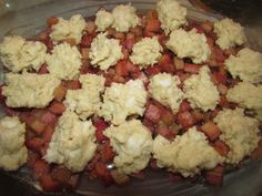 My husband requested this Rhubarb Cobbler and I was pleasantly surprised! It tasted like a sweet/tart, gooey/rich cherry like cobbler! Rhubarb Desserts, Rhubarb Recipes, Summer Desserts, Fun Desserts, Rhubarb Cobbler, Cobbler Topping, Sugar Cookie Dough, 9x13 Baking Dish, Best Dessert Recipes
