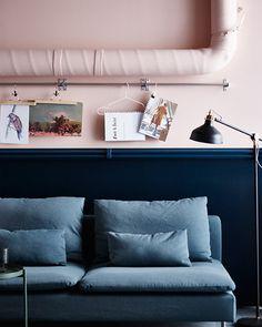 Pink and Blue Bedroom. Pink and Blue Bedroom. Blue Rooms, Blue Bedroom, Bedroom Color Schemes, Bedroom Colors, Dark Interiors, Colorful Interiors, Concept Home, Home Trends, Apartment Living