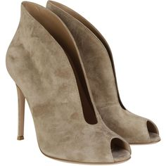 Gianvito Rossi Boots ($570) ❤ liked on Polyvore featuring shoes, boots, ankle booties, nude, nude ankle boots, open toe ankle booties, bootie boots, stiletto boots and short suede boots