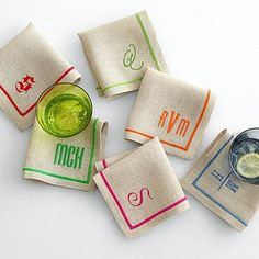 Linen Satin Stitch Cocktail Napkins- review: These were really nice. I got them as a n anniversary gift for my husband.You can choose the color border & style of personalization.