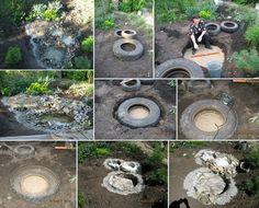 Jardim aquático usando pneus de trator