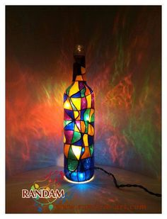 Mosaic Style Lighted Bottle Upcycled Hand painted by RandamArt
