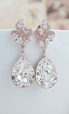 Luxury wedding inspiration Luxury Rose Gold Cubic Zirconia ear posts with Swarovski Crystals Bridal Earrings From EarringsNation Rose Gold Weddings Blush Weddings