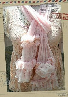 Paris Rags Sugarblossom Gauze ruffle scarves in pink and in Tea stain!