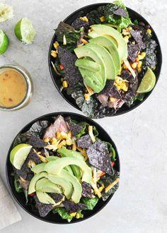 Tequila Lime Flank Steak Fajita Salad with Chile Lime Vinaigrette