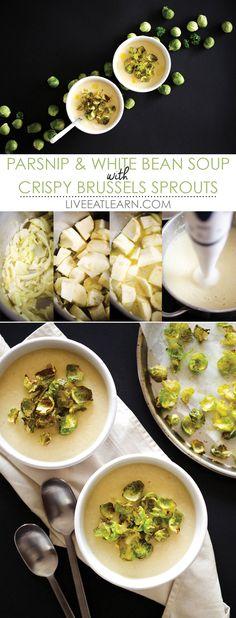 This creamy parsnip and white bean soup recipe is topped with crispy Brussels sprout chips. It's a healthy, cozy soup that's easy to make. Plus, it's vegan! // Live Eat Learn