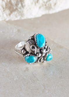 Budding Turquoise Trio Ring - Size 8.75