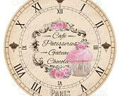 Clock-DIY Shabby Chic Clock Face with Cupcake by MaBellePapeterie