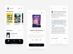 Reading App by Andrew Larin for Leap on Dribbble Wireframe Design, Ux Design, Reading Themes, Modern Web Design, Mobile App Design, Mobile Ui, Last Day Of School, Popular Books, Ui Inspiration