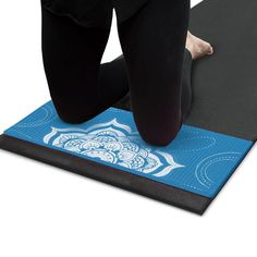 """1/2-inch (15mm) Chakra Art Yoga Knee and Elbow Pad by Crown Sporting Goods (Waterfall). Protect your joints with the high-density foam elbow and knee pad by Crown Sporting Goods. Adds a 1/2 inch of cushion to joints: hands, wrists, elbows, knees, hips and back. Includes grippy, no-slip ridges and a moisture-resistant surface for a safe and comfortable workout. Lightweight, measures 24"""" x 10"""" fits on any standard yoga mat. Includes basic pose demonstrations. Great for yoga, Pilates and…"""