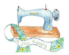 "Retro Illustration print Sewing Machine "" Oh So Happy"" yellow green blue - by patchworkfamilyart on madeit"