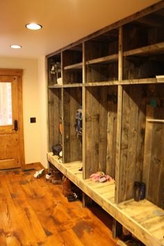 The Double Cross - Mud Room - Love the reclaimed barn wood. Best Picture For Hunting Room d Wood Lockers, Garage Lockers, Mud Room Lockers, Timber House, Reclaimed Barn Wood, Log Homes, Mudroom, Rustic Farmhouse, Home Projects