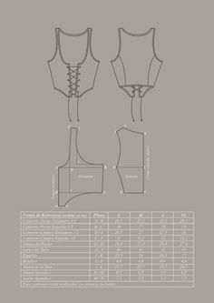 Justillo patrón Easy Sewing Patterns, Clothing Patterns, Spanish Costume, Medieval Pattern, Hippie Crafts, Renaissance Fair Costume, Steampunk Hat, Medieval Fashion, Belly Dance Costumes