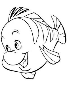 Flounder Little Mermaid Coloring Pages sketch template