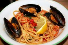 Seafood Linguini with Roasted Pepper Sauce  - This is my family's fav
