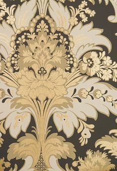Aldwych Damask Wallpaper Chocolate, Cappuccino and Cream Damask Wallpaper with embellished gold glittered relief.