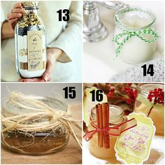 Homemade gifts in a jar are a fun, frugal, and great holiday gift to share with just about any one, think girl friends, neighbors, teachers and family. The possibilities are endless, and remember they are a great starter to build a gift basket.  visit TidyMom.net for details