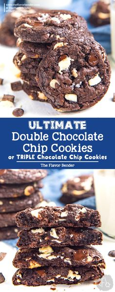 Ultimate Double Chocolate Chip Cookies (or Triple Chocolate Chip Cookies) - Soft. - Ultimate Double Chocolate Chip Cookies (or Triple Chocolate Chip Cookies) – Soft and chewy Chocol - Triple Chocolate Chip Cookies, Chocolate Chip Cookie Dough, Cookie Icing, Chocolate Chocolate, Healthy Chocolate, Recipes With Chocolate Chips, Espresso Cookies Recipe, Dark Chocolate Brownies, Chocolate Cookie Recipes
