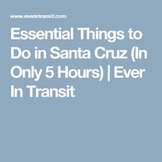 Essential Things to Do in Santa Cruz (In Only 5 Hours) | Ever In Transit