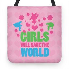 bcd6e9c7ea56 Girls Will Save the World Tote  tote  bag  girly  pink  powerpuff