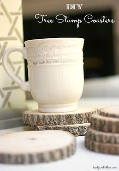 So simple and elegant, yet cost virtually nothing. DIY Tree Stump Coasters out of hard wood