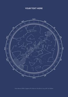 We make beautiful star maps showing the alignment of the stars in a place and time chosen by you. Birthday, engagement, first date.